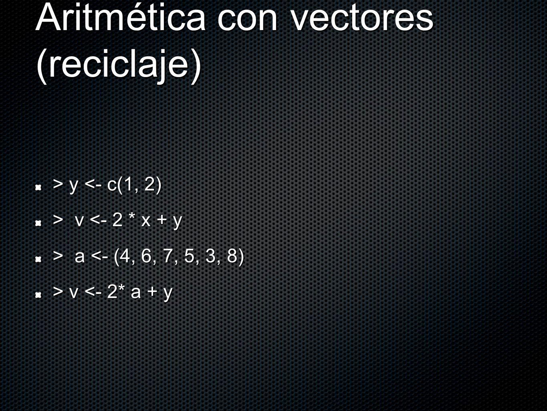 Aritmética con vectores (reciclaje) > y y <- c(1, 2) > v v <- 2 * x + y > a a <- (4, 6, 7, 5, 3, 8) > v v <- 2* a + y