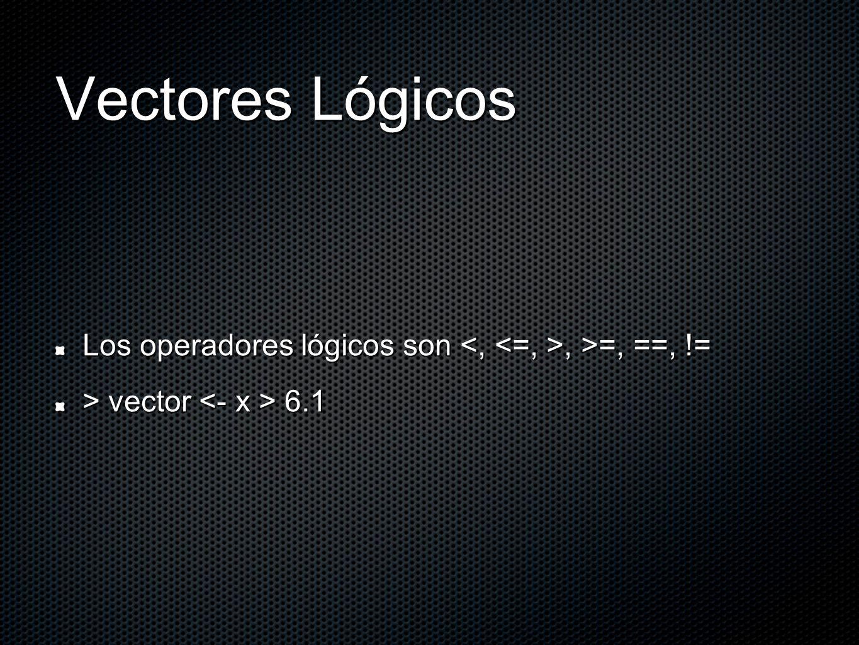 Vectores Lógicos Los operadores lógicos son, >=, ==, != > vector 6.1
