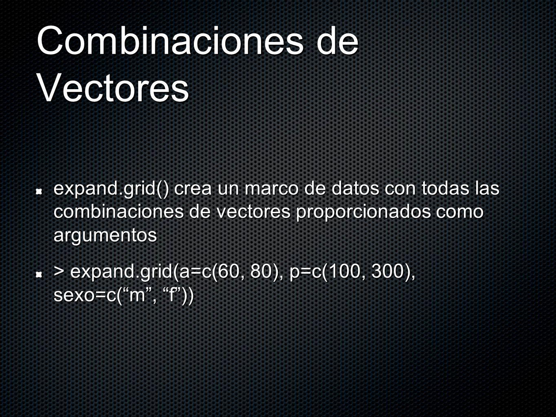 Combinaciones de Vectores expand.grid() crea un marco de datos con todas las combinaciones de vectores proporcionados como argumentos > expand.grid(a=c(60, 80), p=c(100, 300), sexo=c(m, f))