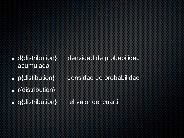 d{distribution} densidad de probabilidad acumulada p{distibution} densidad de probabilidad r{distribution} q{distribution} el valor del cuartil