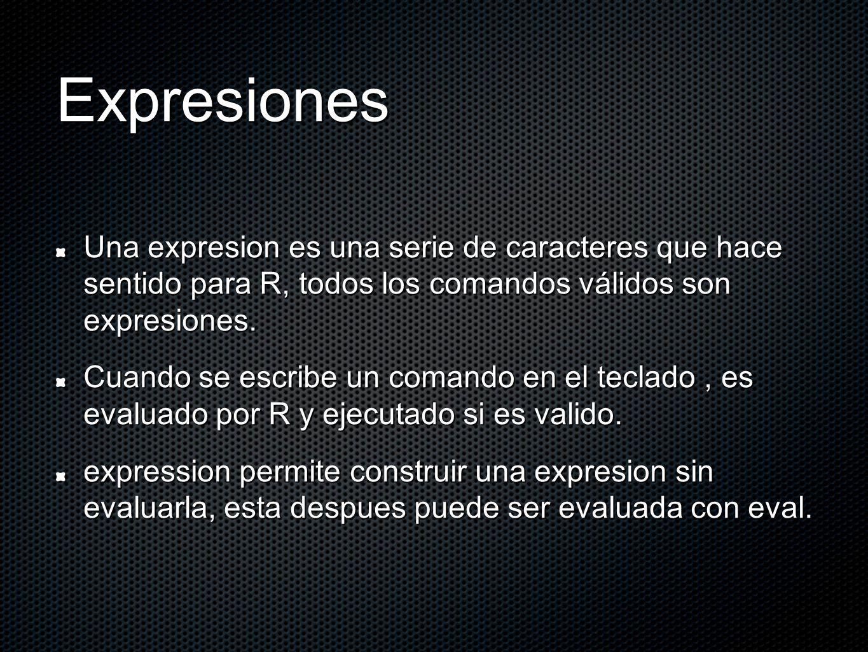 Expresiones Una expresion es una serie de caracteres que hace sentido para R, todos los comandos válidos son expresiones. Cuando se escribe un comando