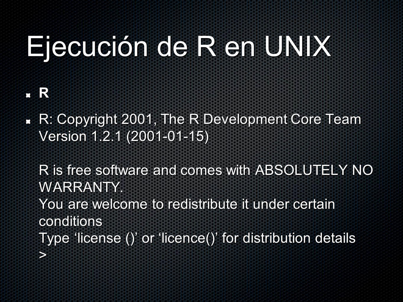 Como funciona R Objetos Las variables, datos, arreglos, etc., se guardan en la memoria de la computadora en forma de objetos, con un nombre en específico.