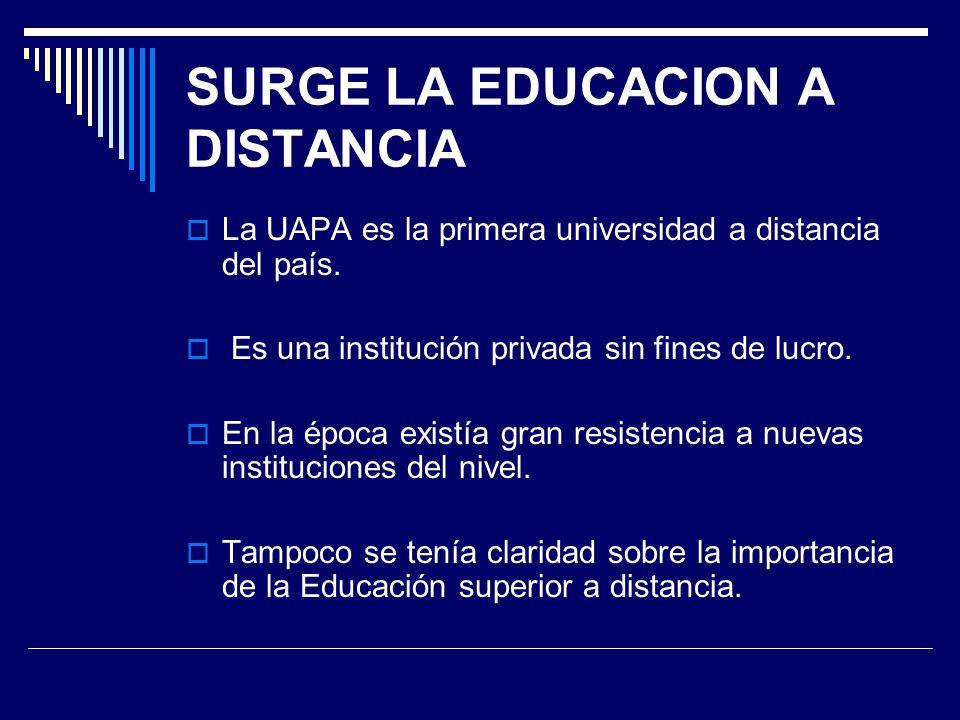 SURGE LA EDUCACION A DISTANCIA La UAPA es la primera universidad a distancia del país. Es una institución privada sin fines de lucro. En la época exis