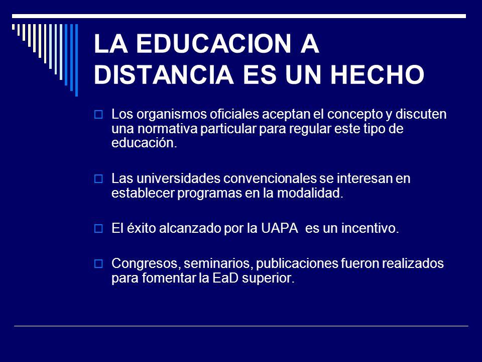LA EDUCACION A DISTANCIA ES UN HECHO Los organismos oficiales aceptan el concepto y discuten una normativa particular para regular este tipo de educac