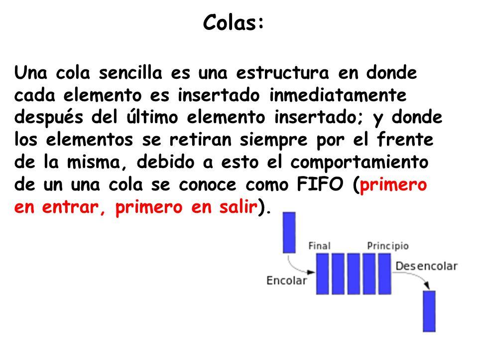 Colas: Una cola sencilla es una estructura en donde cada elemento es insertado inmediatamente después del último elemento insertado; y donde los eleme
