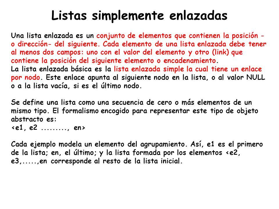 Listas simplemente enlazadas Una lista enlazada es un conjunto de elementos que contienen la posición - o dirección- del siguiente. Cada elemento de u