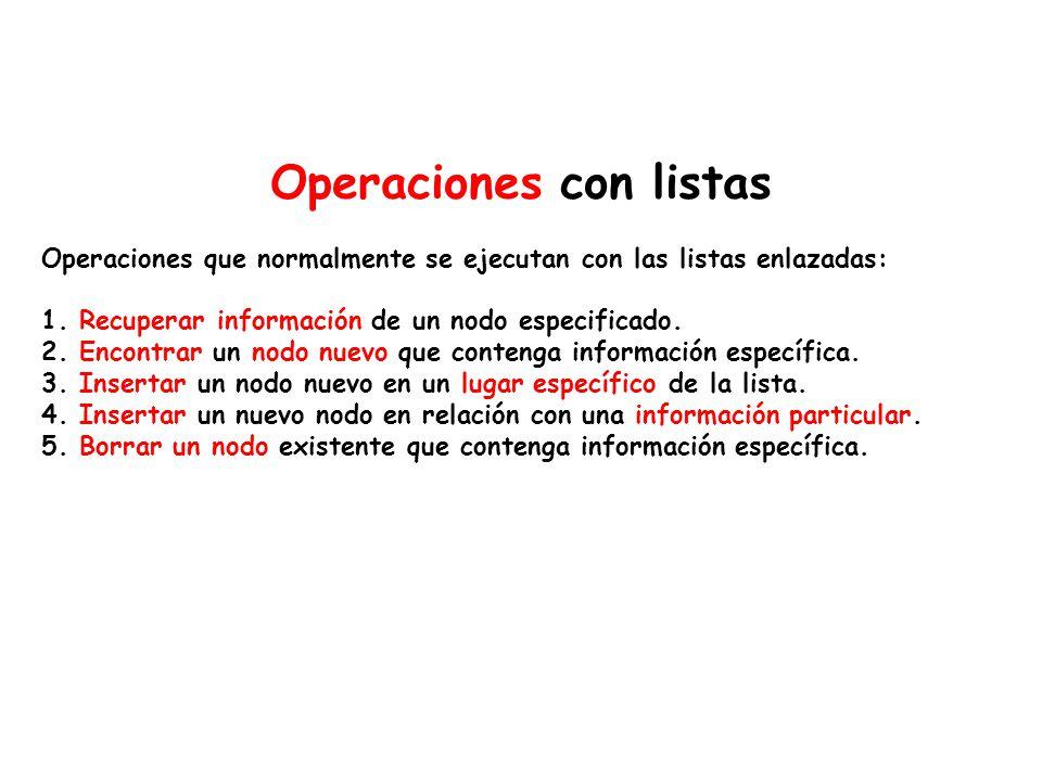 Operaciones con listas Operaciones que normalmente se ejecutan con las listas enlazadas: 1. Recuperar información de un nodo especificado. 2. Encontra