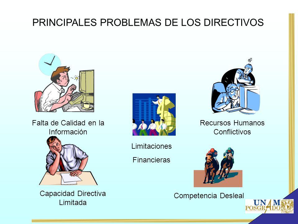 Falta de Calidad en la Información Recursos Humanos Conflictivos Capacidad Directiva Limitada Competencia Desleal Limitaciones Financieras PRINCIPALES