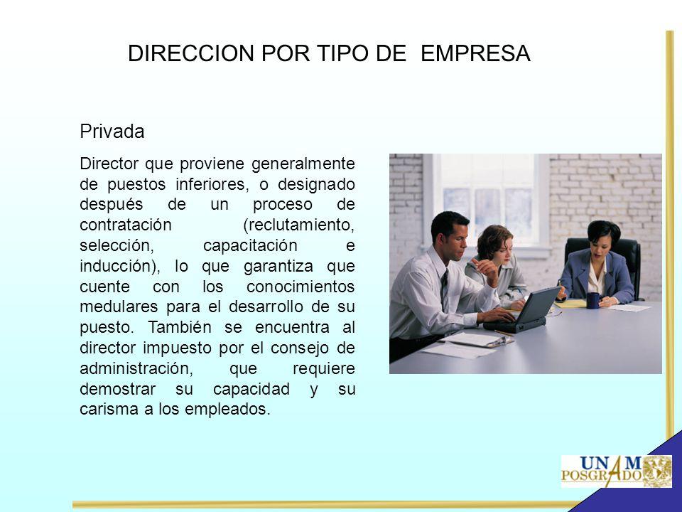 Privada Director que proviene generalmente de puestos inferiores, o designado después de un proceso de contratación (reclutamiento, selección, capacit