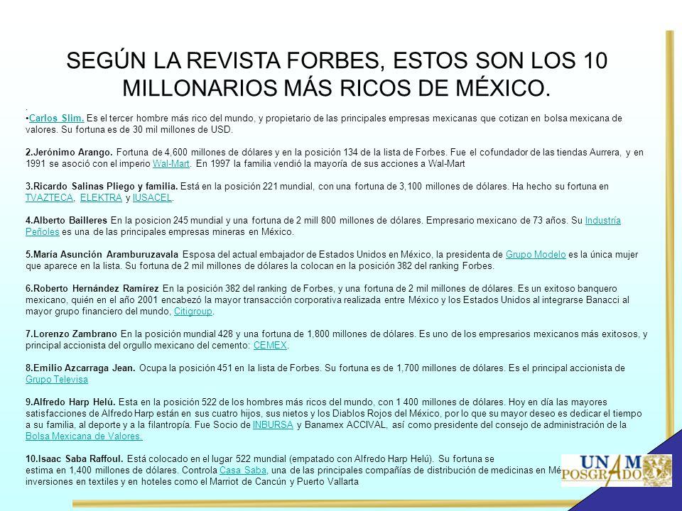 SEGÚN LA REVISTA FORBES, ESTOS SON LOS 10 MILLONARIOS MÁS RICOS DE MÉXICO.. Carlos Slim. Es el tercer hombre más rico del mundo, y propietario de las