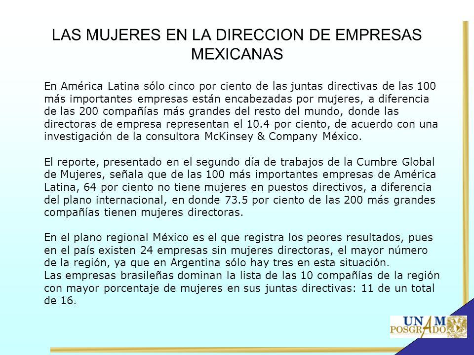 LAS MUJERES EN LA DIRECCION DE EMPRESAS MEXICANAS En América Latina sólo cinco por ciento de las juntas directivas de las 100 más importantes empresas