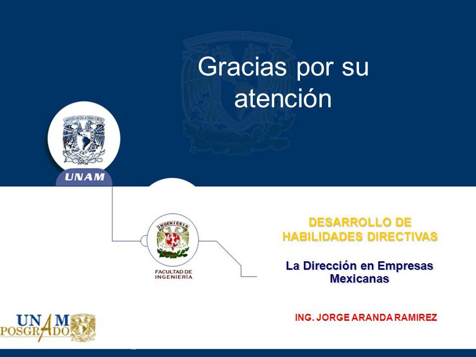 La Dirección en Empresas Mexicanas DESARROLLO DE HABILIDADES DIRECTIVAS ING. JORGE ARANDA RAMIREZ Gracias por su atención
