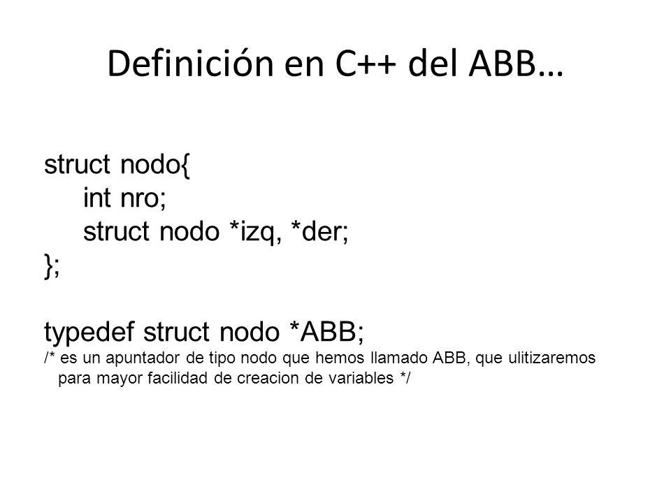 Definición en C++ del ABB… struct nodo{ int nro; struct nodo *izq, *der; }; typedef struct nodo *ABB; /* es un apuntador de tipo nodo que hemos llamad