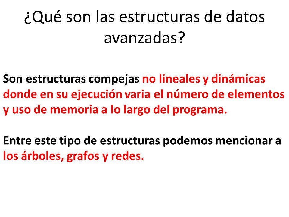 Son estructuras compejas no lineales y dinámicas donde en su ejecución varia el número de elementos y uso de memoria a lo largo del programa. Entre es