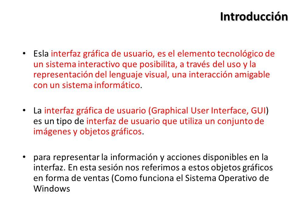 Introducción Esla interfaz gráfica de usuario, es el elemento tecnológico de un sistema interactivo que posibilita, a través del uso y la representaci