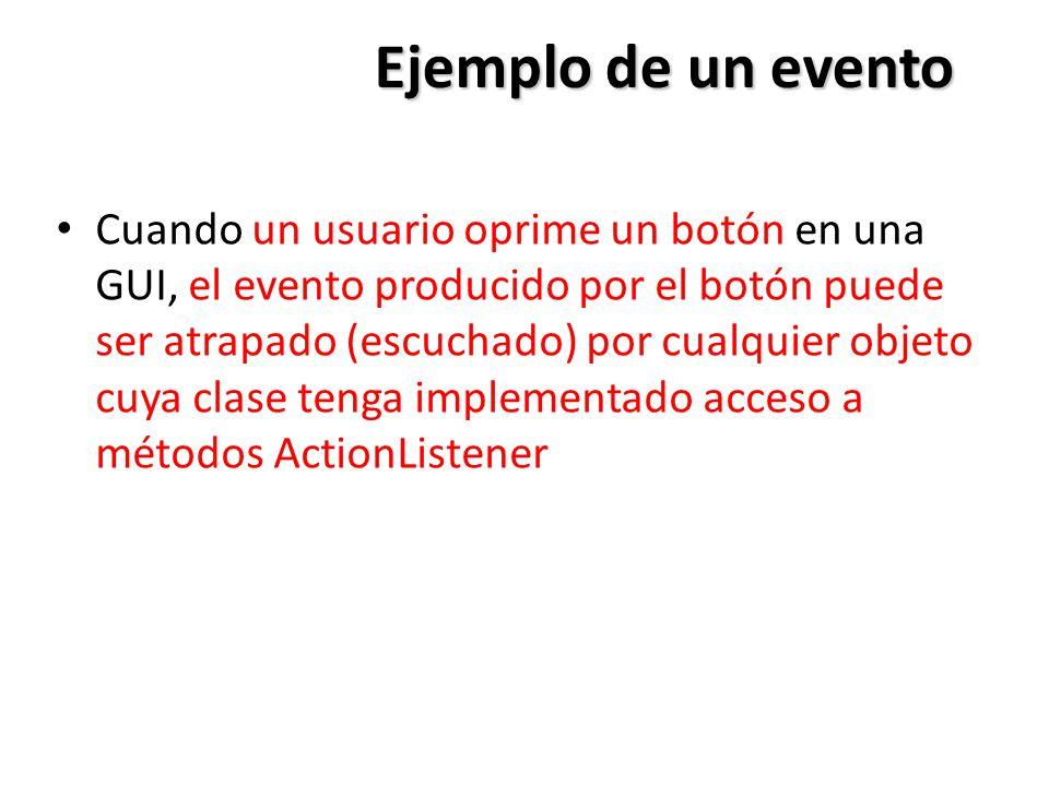 Ejemplo de un evento Cuando un usuario oprime un botón en una GUI, el evento producido por el botón puede ser atrapado (escuchado) por cualquier objet