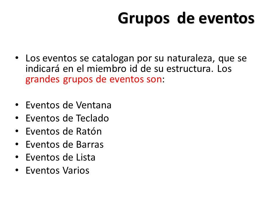 Grupos de eventos Los eventos se catalogan por su naturaleza, que se indicará en el miembro id de su estructura. Los grandes grupos de eventos son: Ev