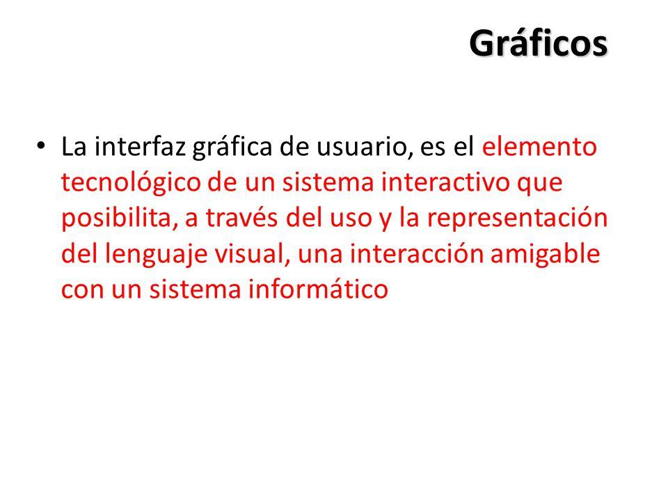 Gráficos La interfaz gráfica de usuario, es el elemento tecnológico de un sistema interactivo que posibilita, a través del uso y la representación del