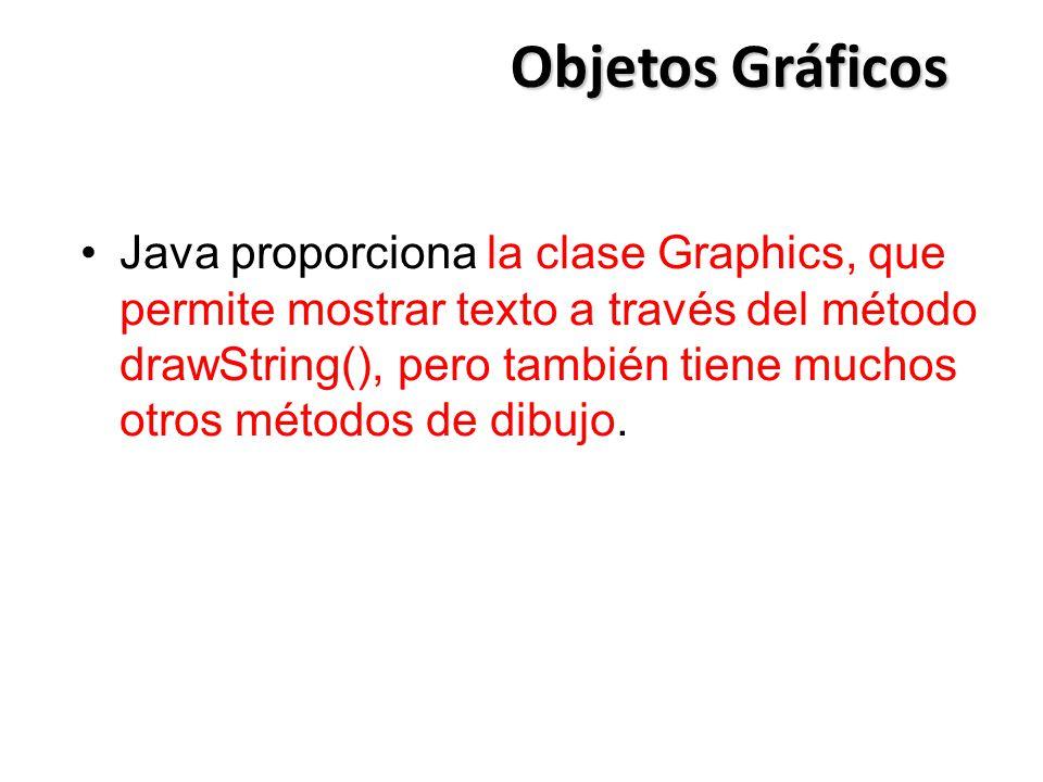 Objetos Gráficos Java proporciona la clase Graphics, que permite mostrar texto a través del método drawString(), pero también tiene muchos otros métod