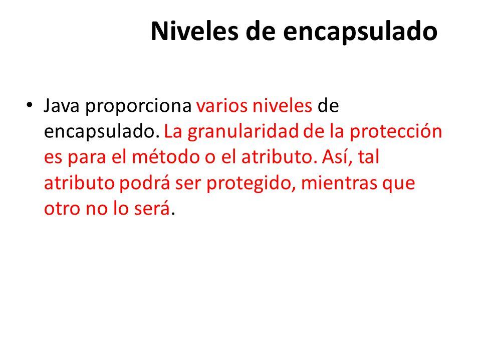 Niveles de encapsulado Java proporciona varios niveles de encapsulado.