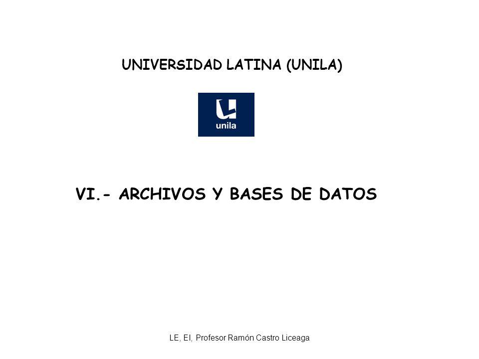 LE, EI, Profesor Ramón Castro Liceaga UNIVERSIDAD LATINA (UNILA) VI.- ARCHIVOS Y BASES DE DATOS
