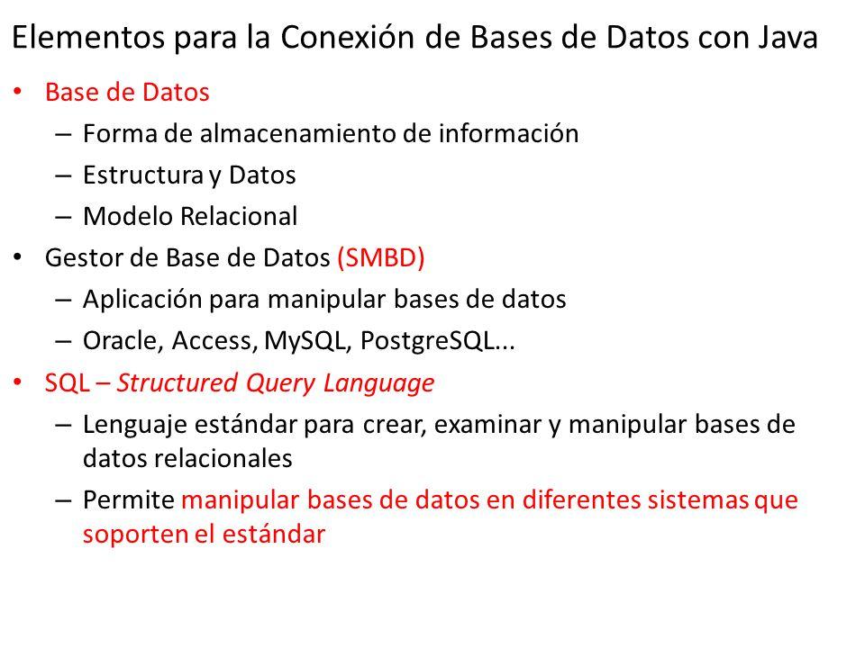Elementos para la Conexión de Bases de Datos con Java Base de Datos – Forma de almacenamiento de información – Estructura y Datos – Modelo Relacional