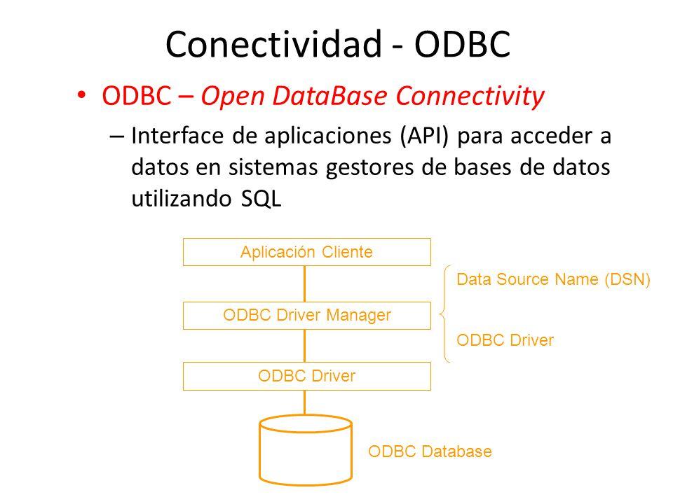 Conectividad - ODBC ODBC – Open DataBase Connectivity – Interface de aplicaciones (API) para acceder a datos en sistemas gestores de bases de datos ut