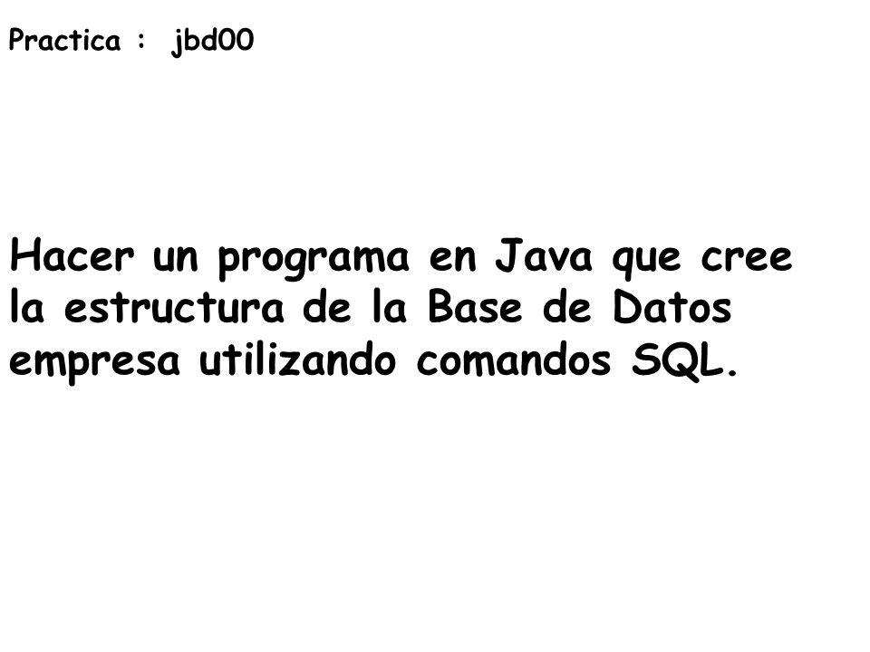 Practica : jbd00 Hacer un programa en Java que cree la estructura de la Base de Datos empresa utilizando comandos SQL.