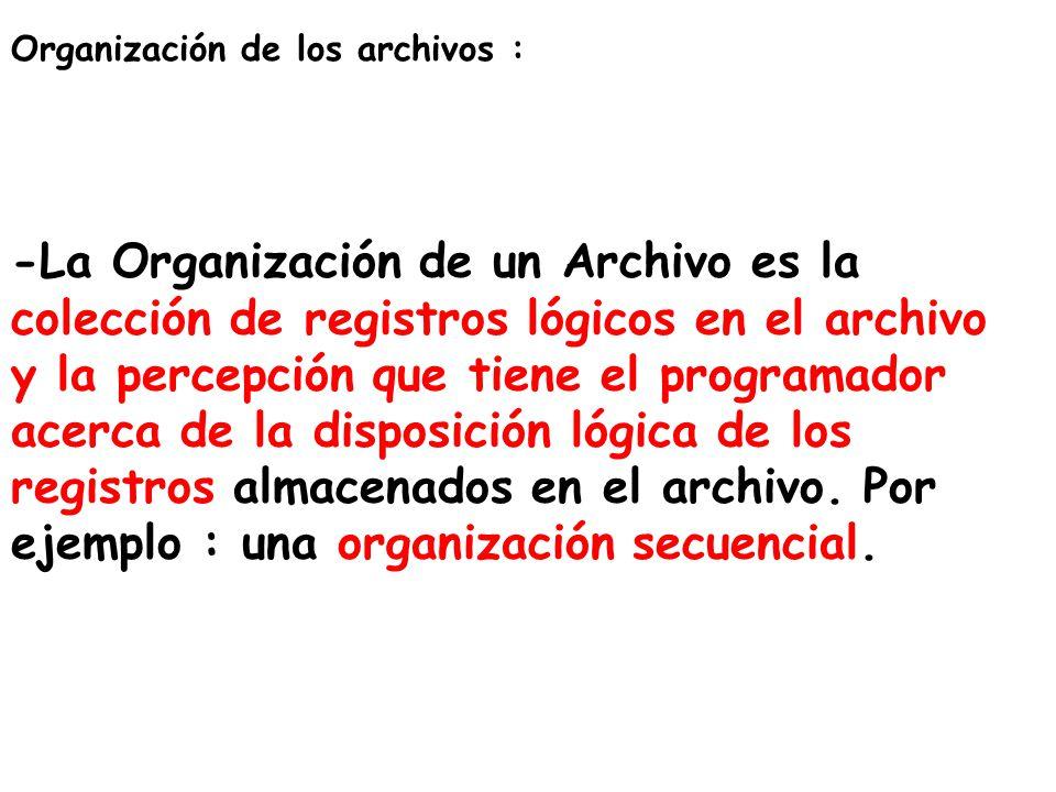 Organización de los archivos : -La Organización de un Archivo es la colección de registros lógicos en el archivo y la percepción que tiene el programa