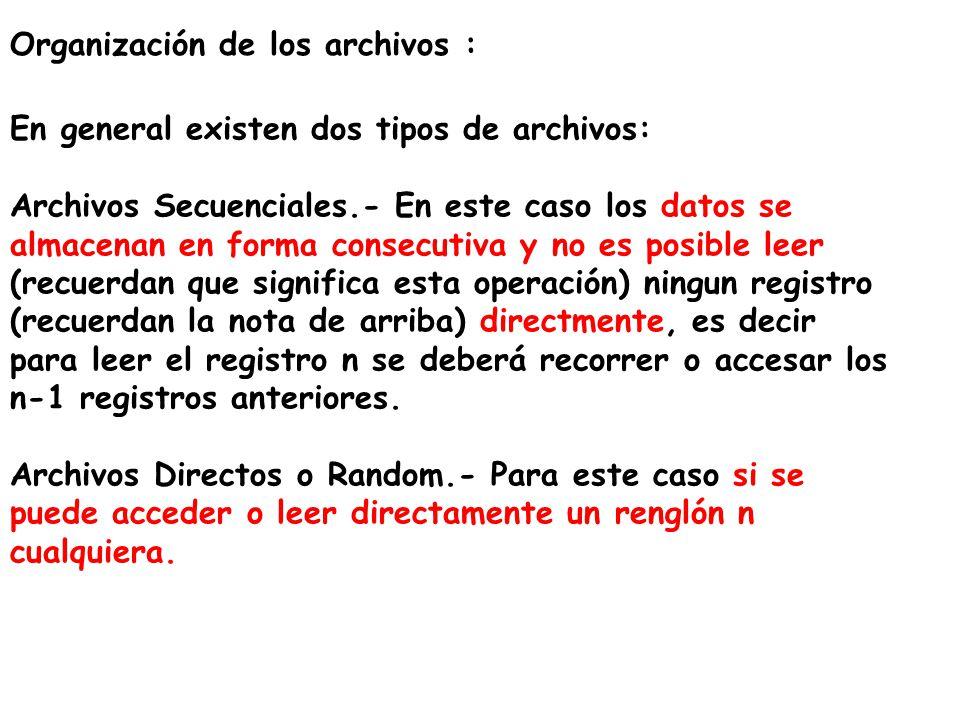 Organización de los archivos : En general existen dos tipos de archivos: Archivos Secuenciales.- En este caso los datos se almacenan en forma consecut