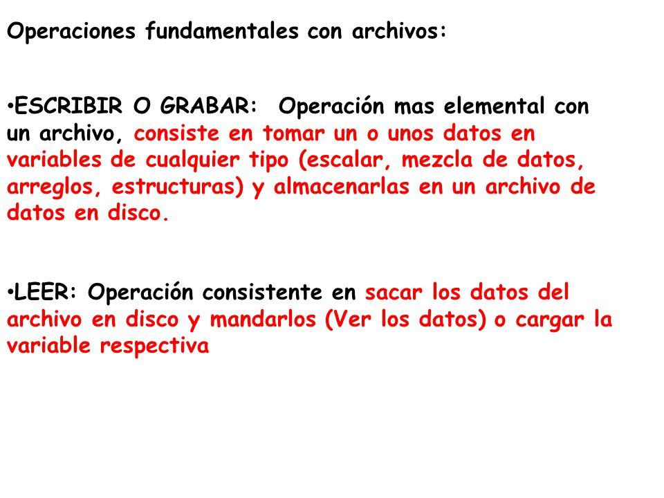 Operaciones fundamentales con archivos: ESCRIBIR O GRABAR: Operación mas elemental con un archivo, consiste en tomar un o unos datos en variables de c