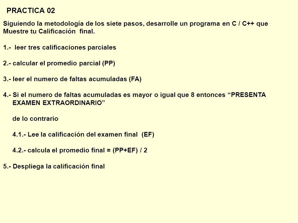 PRACTICA 02 Siguiendo la metodología de los siete pasos, desarrolle un programa en C / C++ que Muestre tu Calificación final.