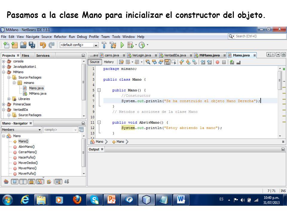 LE, EI, Profesor Ramón Castro Liceaga Pasamos a la clase Mano para inicializar el constructor del objeto.