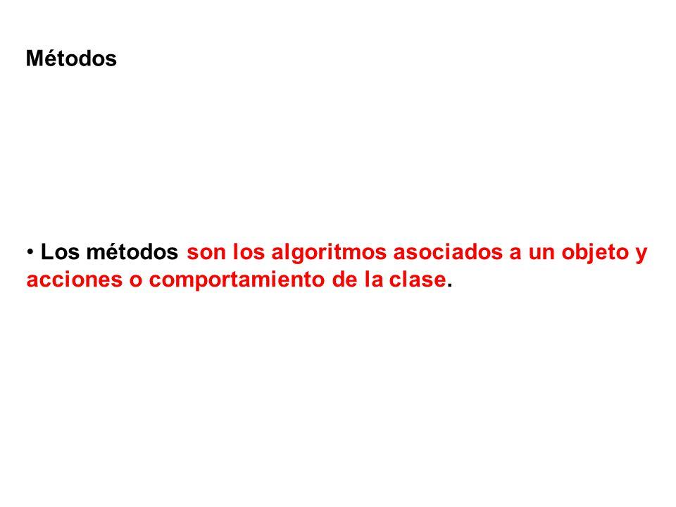 Métodos Los métodos son los algoritmos asociados a un objeto y acciones o comportamiento de la clase.