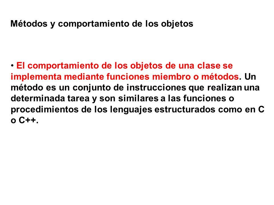 Métodos y comportamiento de los objetos El comportamiento de los objetos de una clase se implementa mediante funciones miembro o métodos. Un método es
