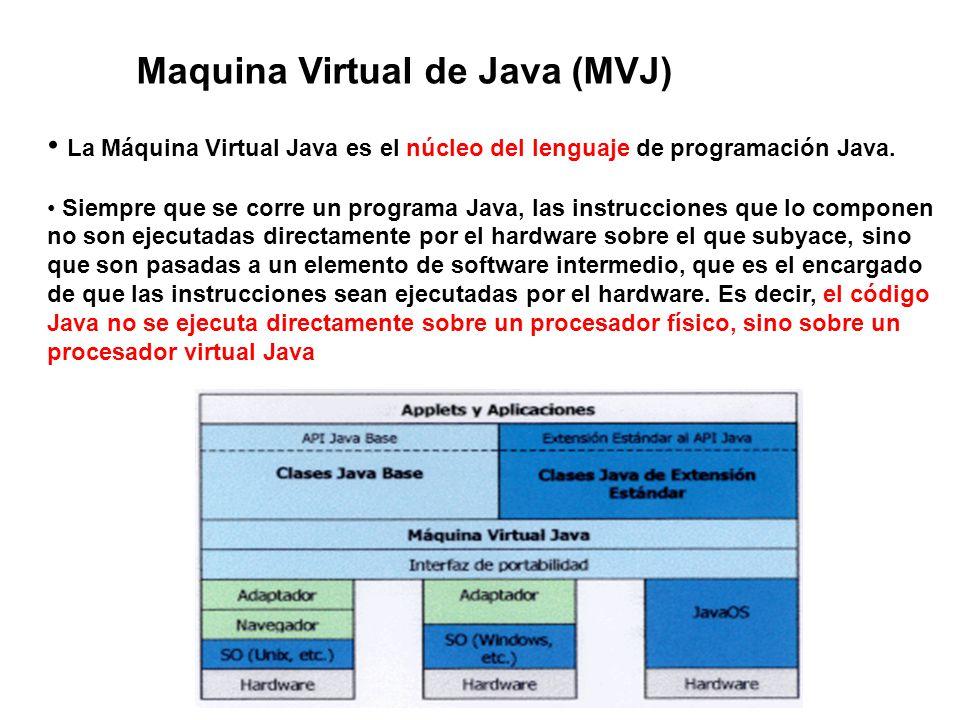 EI, Profesor Ramón Castro Liceaga Maquina Virtual de Java (MVJ) La Máquina Virtual Java es el núcleo del lenguaje de programación Java. Siempre que se