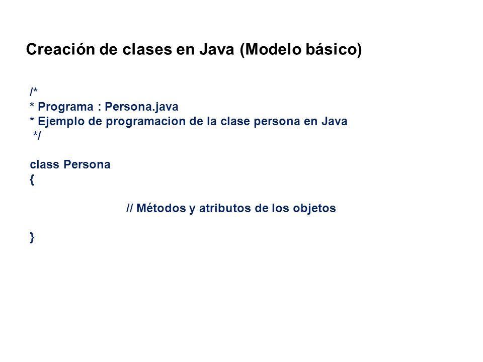 Creación de clases en Java (Modelo básico) /* * Programa : Persona.java * Ejemplo de programacion de la clase persona en Java */ class Persona { // Mé
