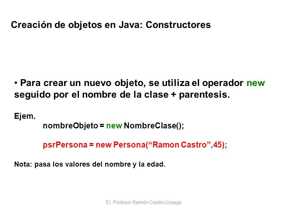 EI, Profesor Ramón Castro Liceaga Creación de objetos en Java: Constructores Para crear un nuevo objeto, se utiliza el operador new seguido por el nom