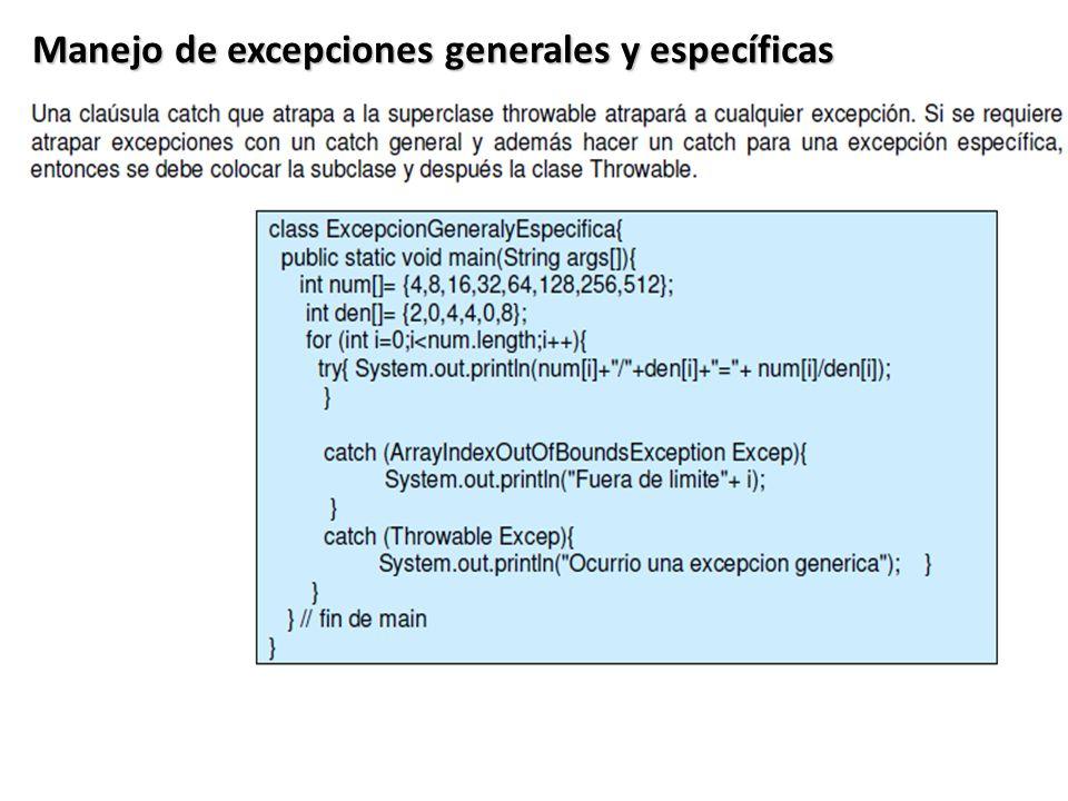 Manejo de excepciones generales y específicas