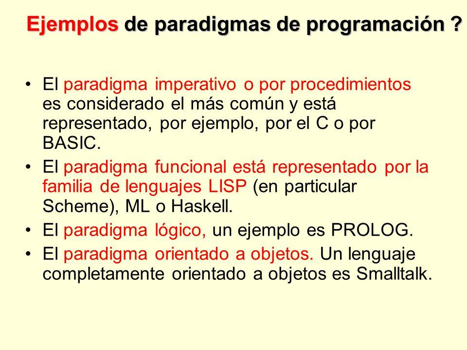 Ejemplos de paradigmas de programación .