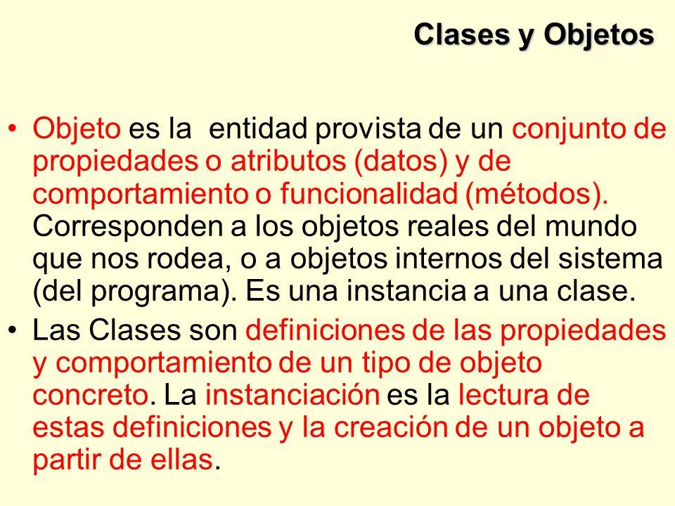 Clases y Objetos Objeto es la entidad provista de un conjunto de propiedades o atributos (datos) y de comportamiento o funcionalidad (métodos).