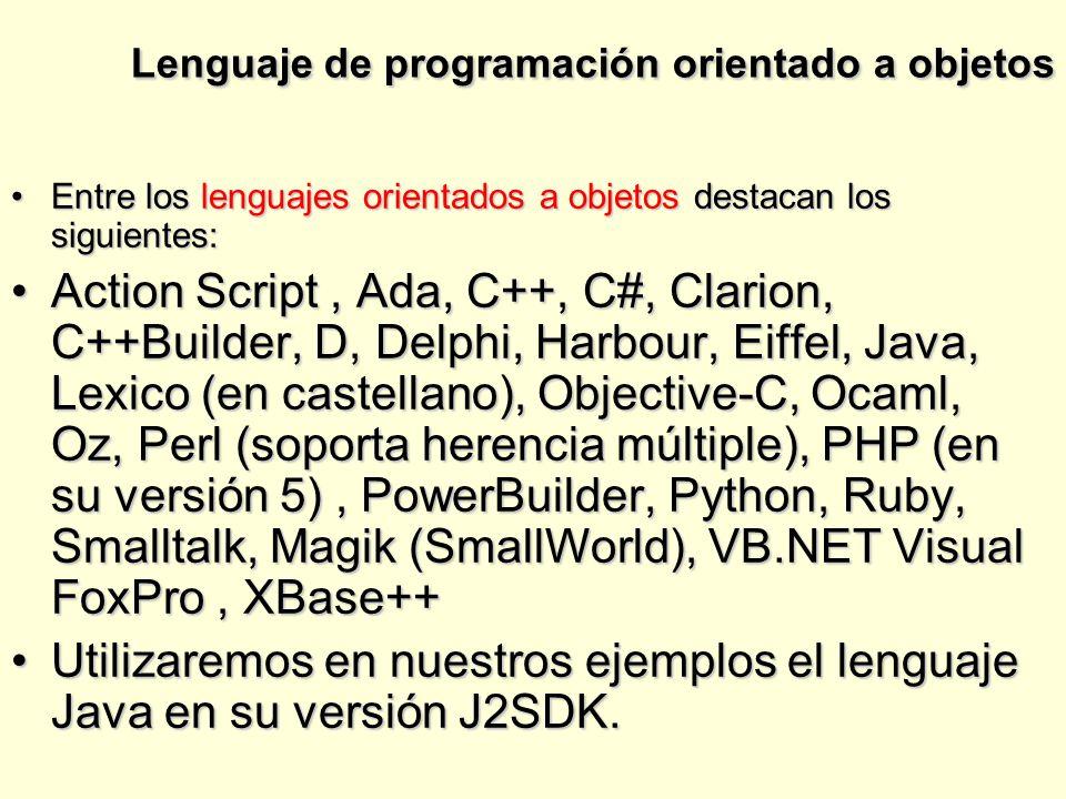 Lenguaje de programación orientado a objetos Entre los lenguajes orientados a objetos destacan los siguientes:Entre los lenguajes orientados a objetos destacan los siguientes: Action Script, Ada, C++, C#, Clarion, C++Builder, D, Delphi, Harbour, Eiffel, Java, Lexico (en castellano), Objective-C, Ocaml, Oz, Perl (soporta herencia múltiple), PHP (en su versión 5), PowerBuilder, Python, Ruby, Smalltalk, Magik (SmallWorld), VB.NET Visual FoxPro, XBase++Action Script, Ada, C++, C#, Clarion, C++Builder, D, Delphi, Harbour, Eiffel, Java, Lexico (en castellano), Objective-C, Ocaml, Oz, Perl (soporta herencia múltiple), PHP (en su versión 5), PowerBuilder, Python, Ruby, Smalltalk, Magik (SmallWorld), VB.NET Visual FoxPro, XBase++ Utilizaremos en nuestros ejemplos el lenguaje Java en su versión J2SDK.Utilizaremos en nuestros ejemplos el lenguaje Java en su versión J2SDK.