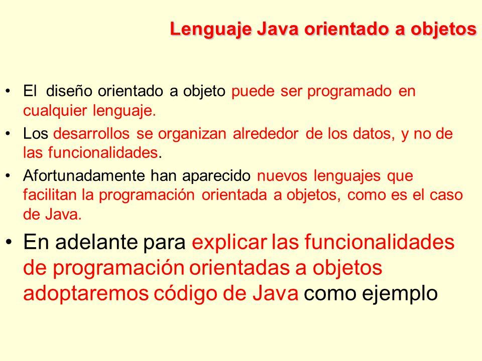 Lenguaje Java orientado a objetos El diseño orientado a objeto puede ser programado en cualquier lenguaje.