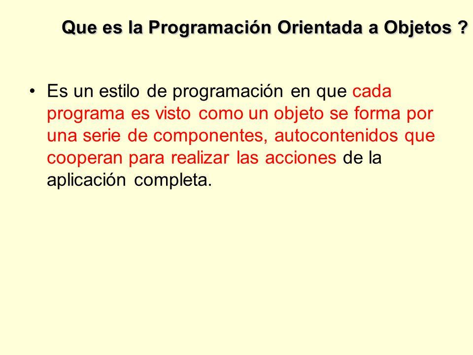 Que es la Programación Orientada a Objetos .