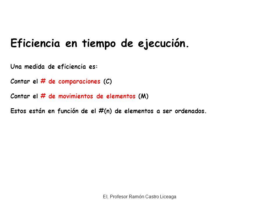 EI, Profesor Ramón Castro Liceaga Eficiencia en tiempo de ejecución. Una medida de eficiencia es: Contar el # de comparaciones (C) Contar el # de movi