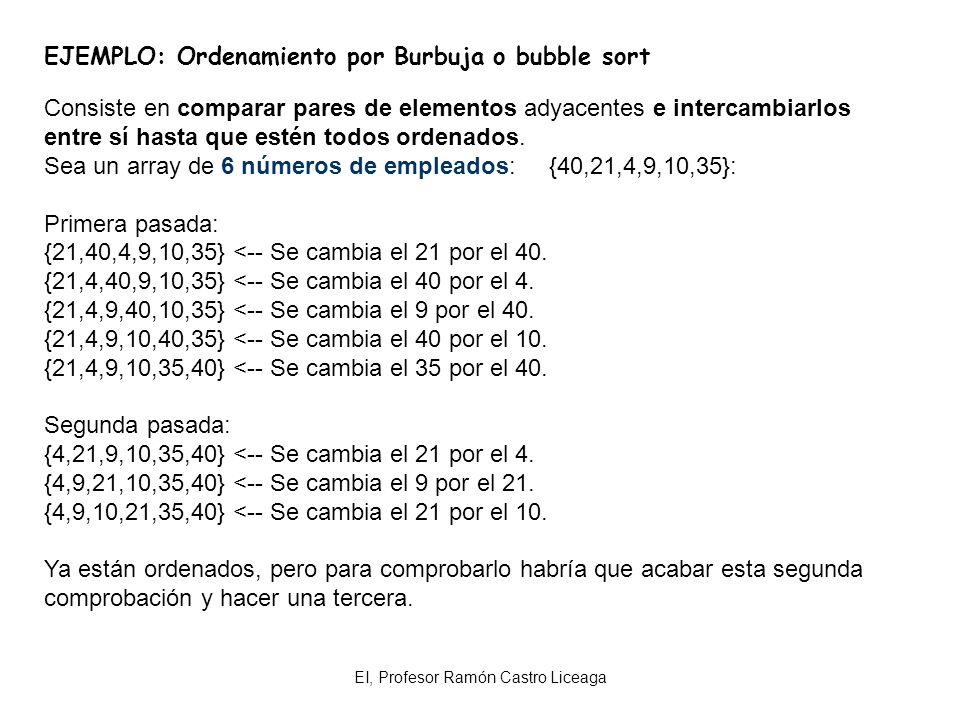 EI, Profesor Ramón Castro Liceaga EJEMPLO: Ordenamiento por Burbuja o bubble sort Consiste en comparar pares de elementos adyacentes e intercambiarlos