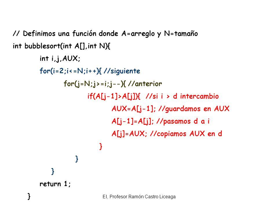 EI, Profesor Ramón Castro Liceaga Practica: Hacer un programa con Arreglos que ordene por el método de la burbuja Bubblesort en forma ascendente un vector de 10 números de empleados de una empresa.