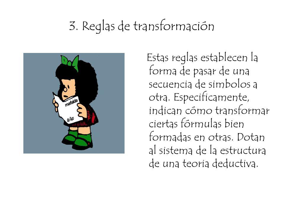 3. Reglas de transformación Estas reglas establecen la forma de pasar de una secuencia de simbolos a otra. Especificamente, indican cómo transformar c