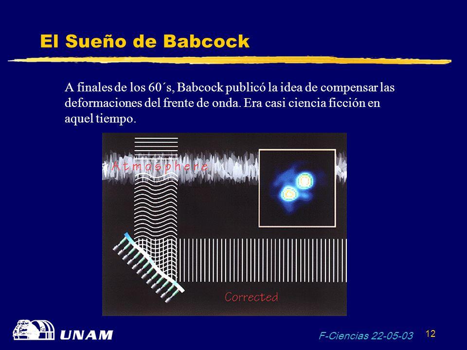 F-Ciencias 22-05-03 12 El Sueño de Babcock A finales de los 60´s, Babcock publicó la idea de compensar las deformaciones del frente de onda. Era casi