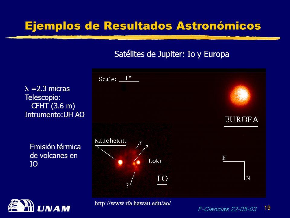 F-Ciencias 22-05-03 19 Ejemplos de Resultados Astronómicos Satélites de Jupiter: Io y Europa =2.3 micras Telescopio: CFHT (3.6 m) Intrumento:UH AO Emi